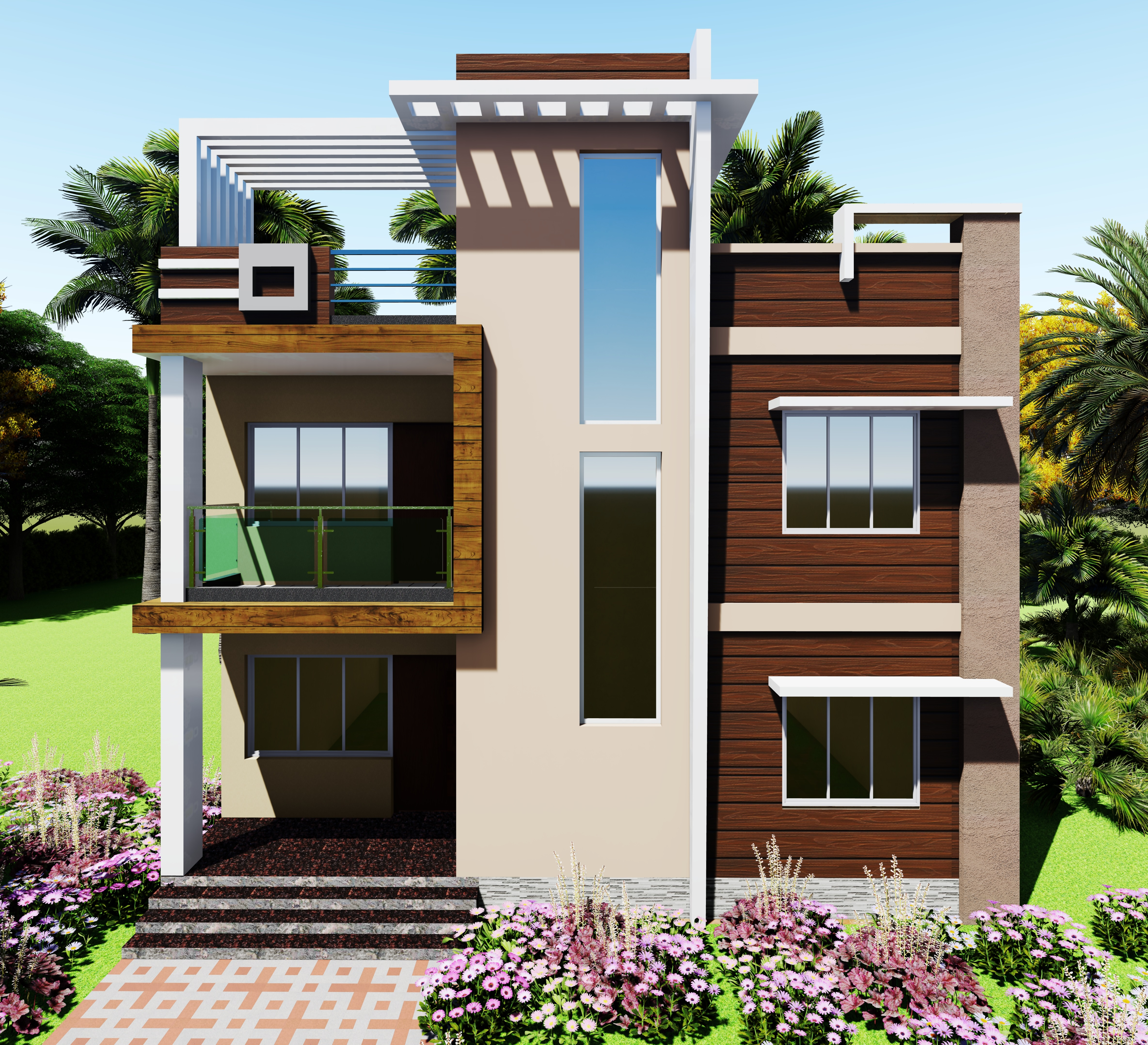 Small House Elevation Design Duplex House: 2 Storied Residential Building Elevation